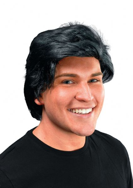 Adults Mans Side Parting 80s Black Wig 80s Disco Pop Retro Fancy Dress